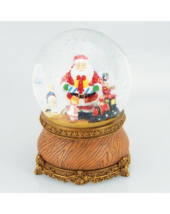 Kula śnieżna, świąteczna pozytywka z ruchomą scenką. Mikołaj z zabawkami. Music Box