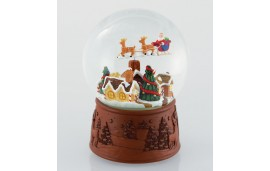 Kula śnieżna z pozytywką i ruchomą scenką. Mikołaj nad miastem. Music Box