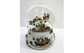 Kula śnieżna, świąteczna pozytywka z ruchomą scenką Mikołaj nad miastem, Music Box