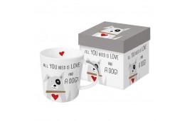 LOVE and a DOG - porcelanowy kubek w pudełku