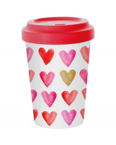 Aquarell Hearts Kubek bambusowy 400ml.