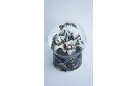 Kula śnieżna, świąteczna pozytywka z ruchomą scenką Mikołaj z pociągiem Music Box