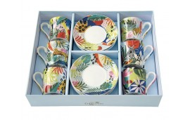 6 espr.cups&saucers Tropical Vibes